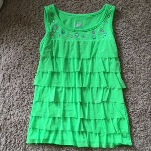 Girls Justice Green Ruffle Top Size 10